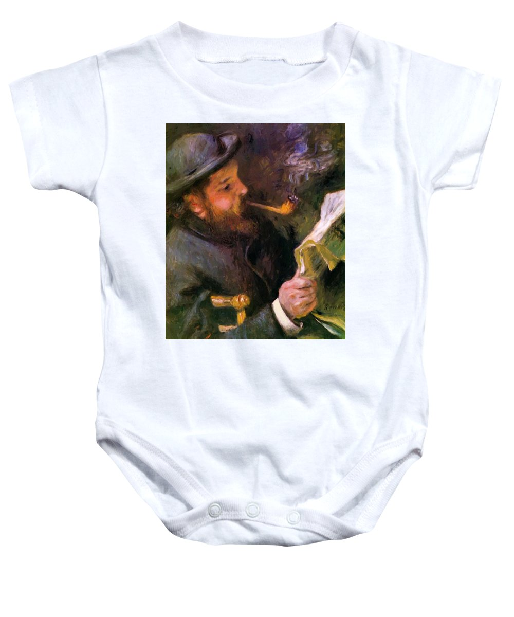 Claude Baby Onesie featuring the painting Claude Monet Reading 1872 by Renoir PierreAuguste