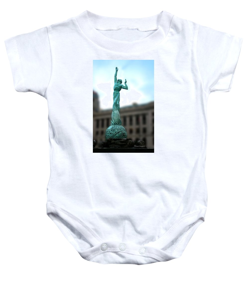 Cleveland Baby Onesie featuring the photograph Cleveland War Memorial Fountain by Terri Harper
