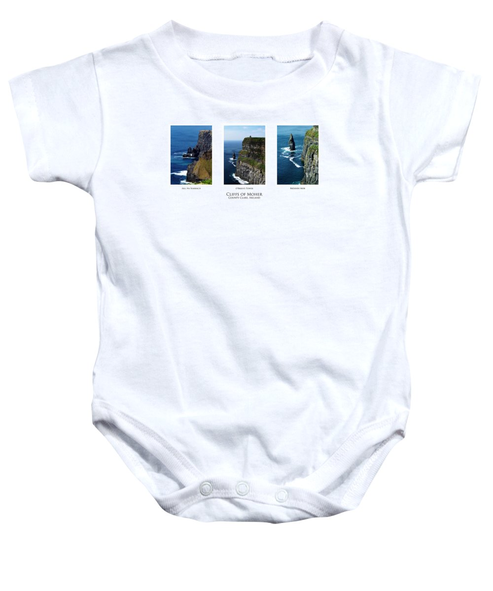 Irish Baby Onesie featuring the photograph Cliffs Of Moher Ireland Triptych by Teresa Mucha