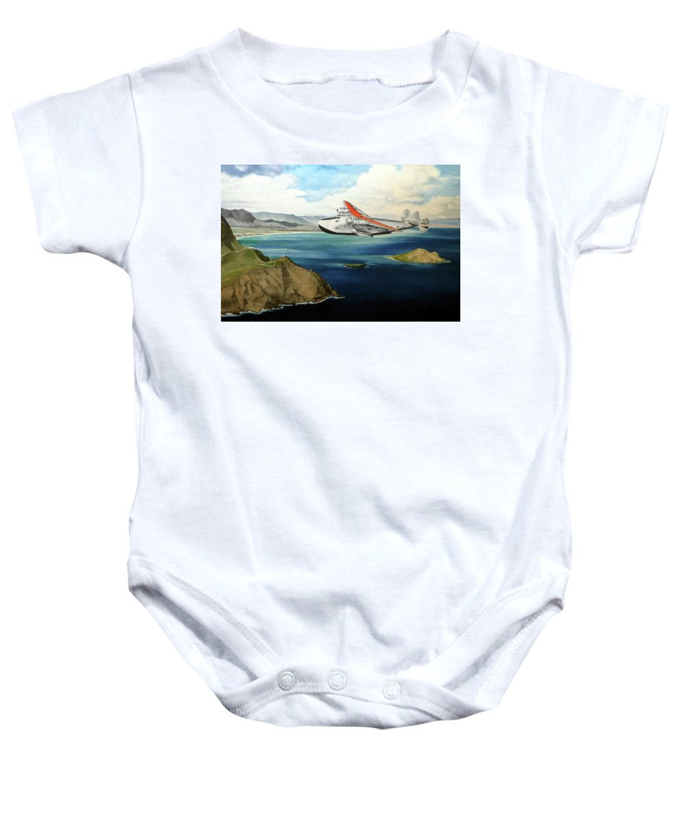 Clipper Baby Onesie featuring the painting Clipper at the Makapu'u Light by Marcus Stewart