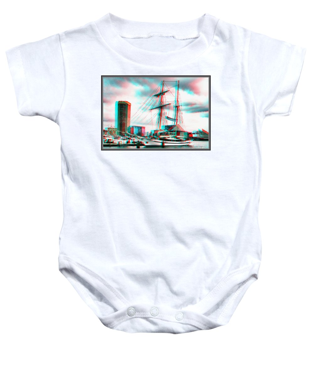 3d Baby Onesie featuring the photograph Clipper City - Use Red-cyan 3d Glasses by Brian Wallace