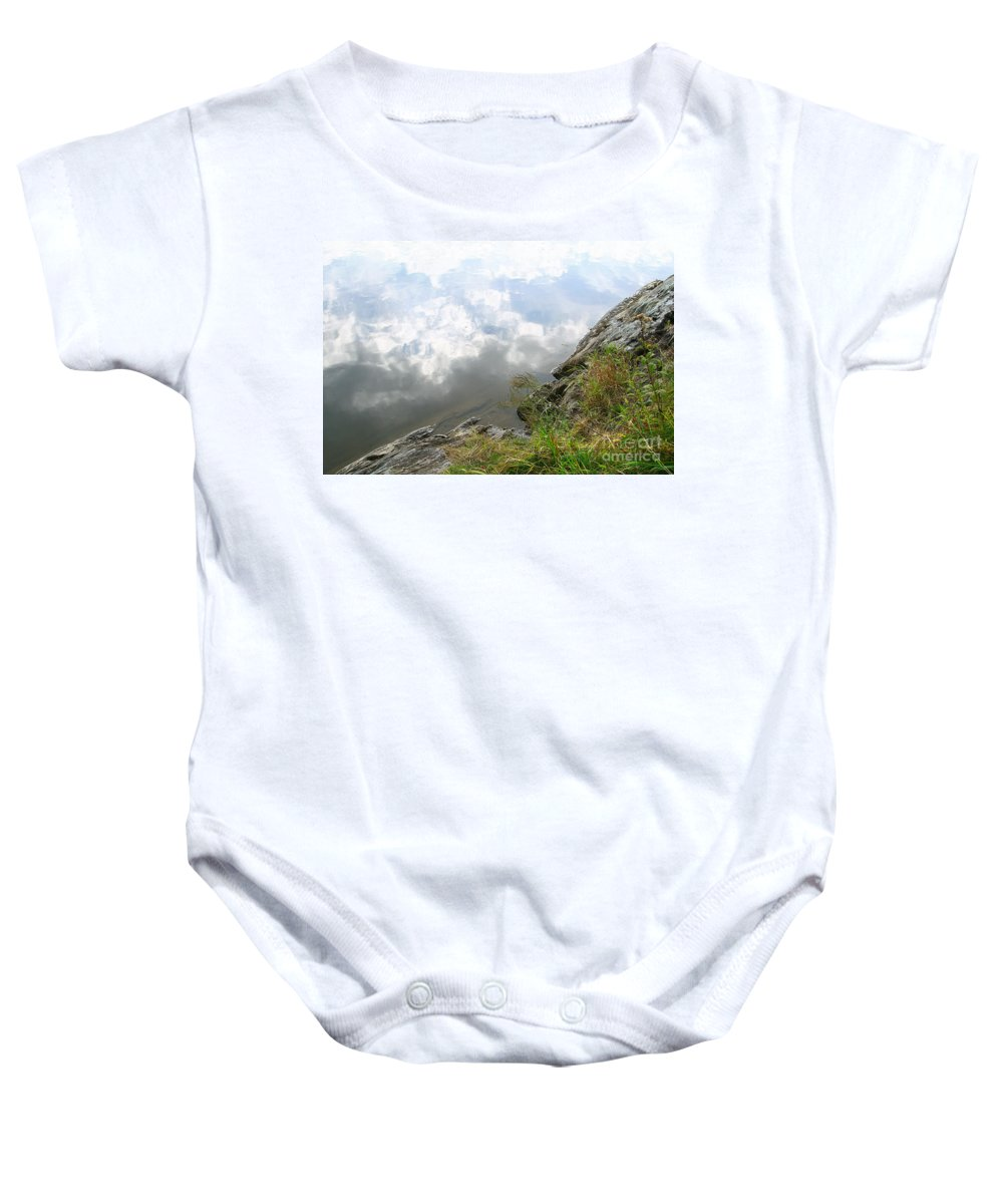Clouds Baby Onesie featuring the photograph Cloud Reflections by Deborah Benoit