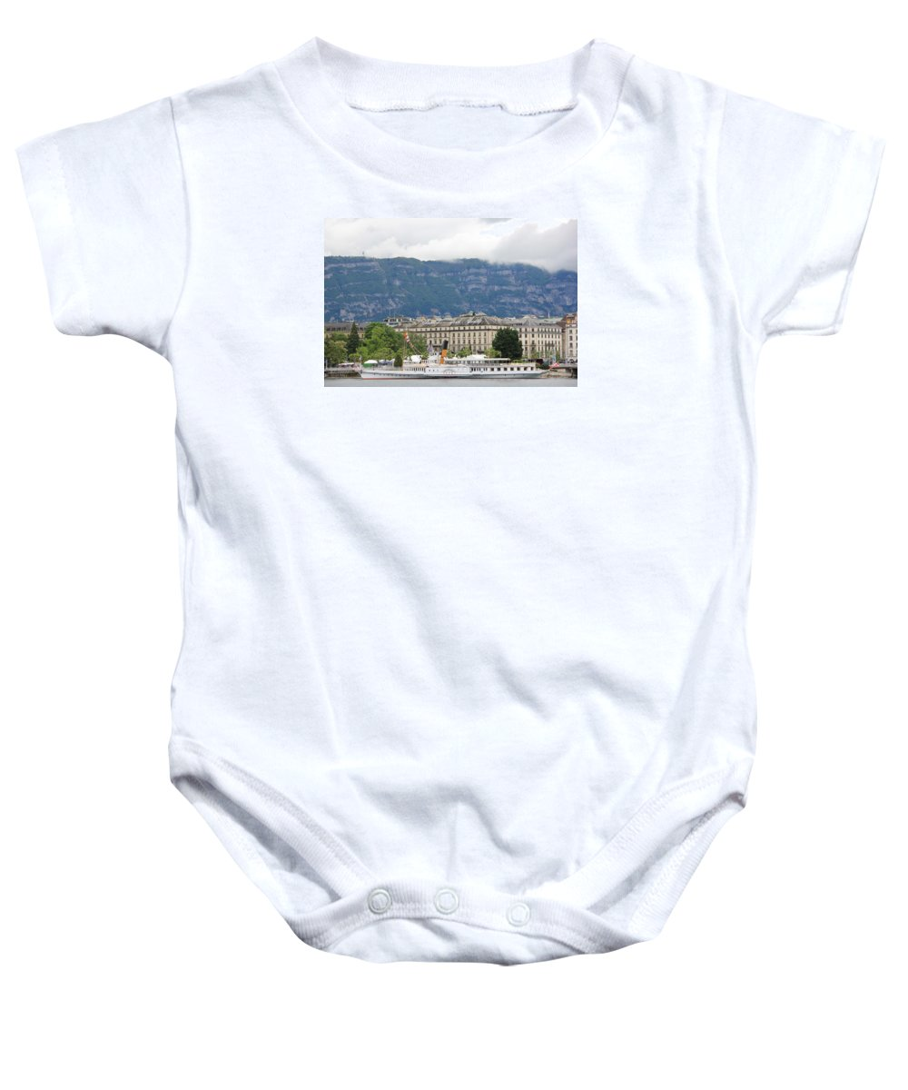Geneva Baby Onesie featuring the photograph Clouds Mountains Building A Ship by Nurlan Alymbaev