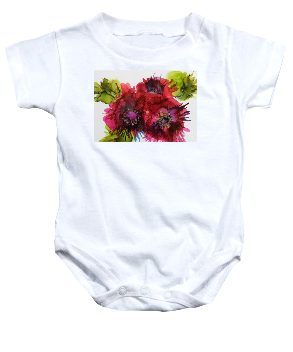 Alcohol Ink Baby Onesie featuring the painting Cluster by Beth Kluth