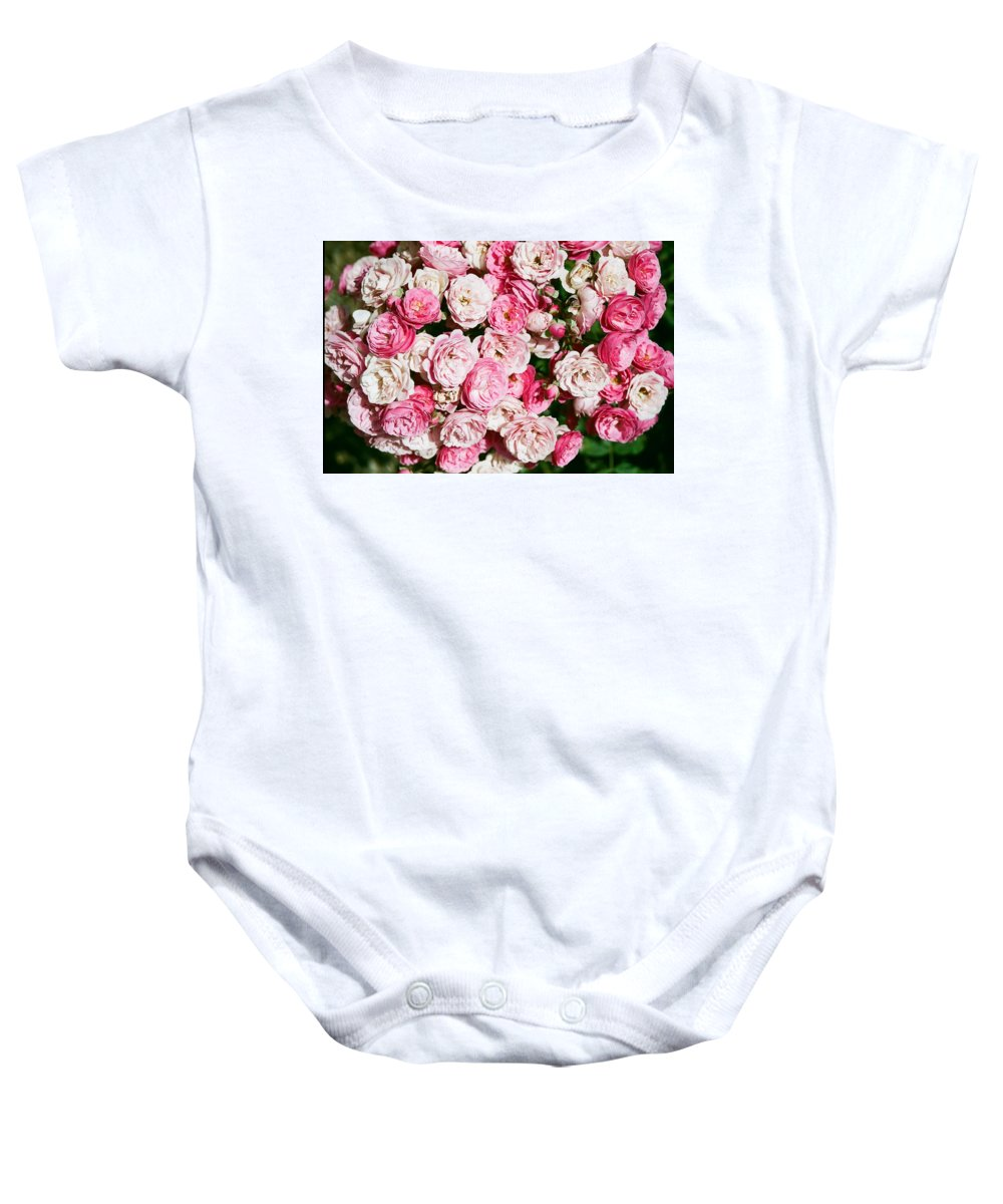 Rose Baby Onesie featuring the photograph Cluster Of Roses by Dean Triolo