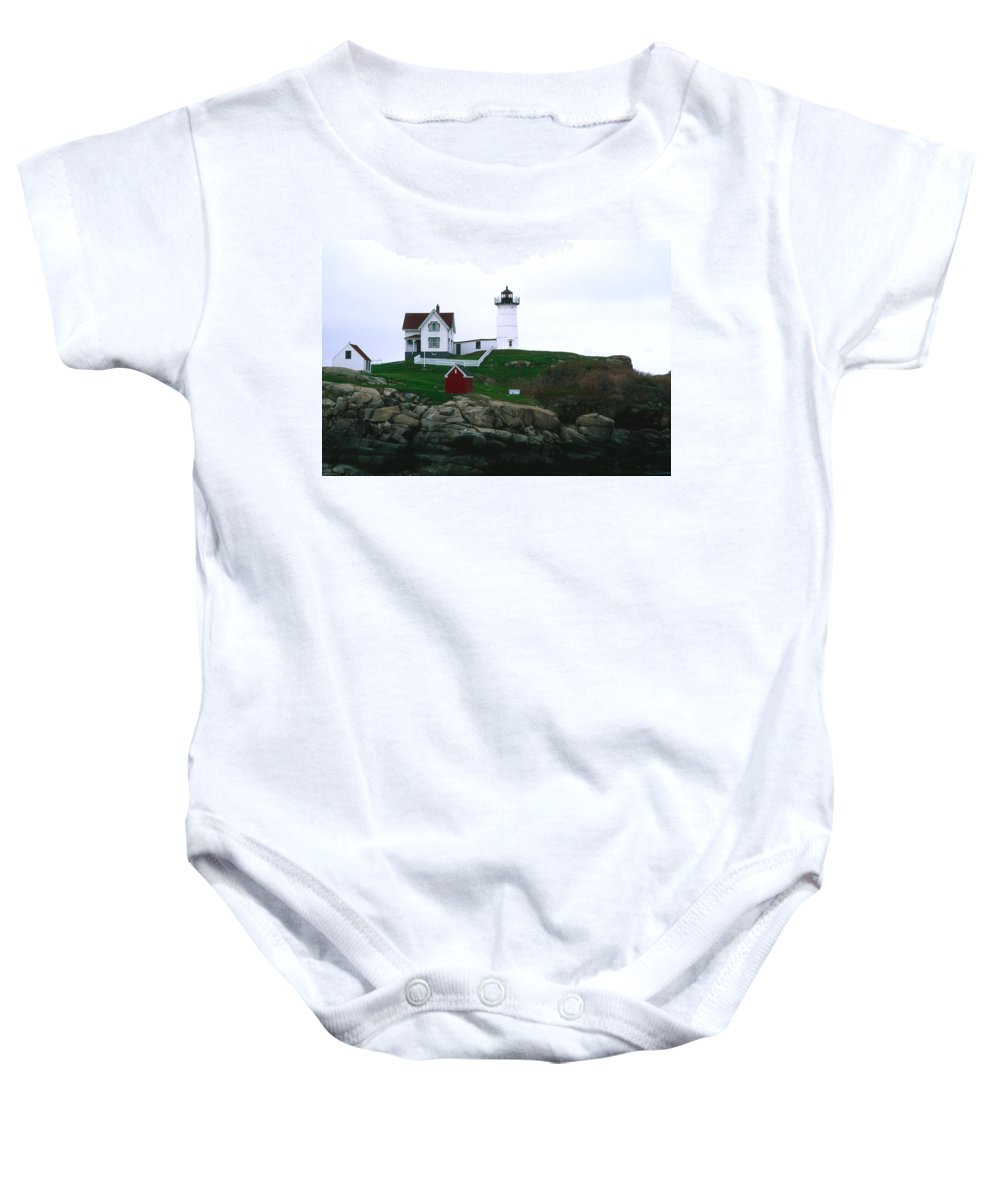 Landscape Lighthouse Nautical New England Nubble Light Cape Neddick Baby Onesie featuring the photograph Cnrf0502 by Henry Butz
