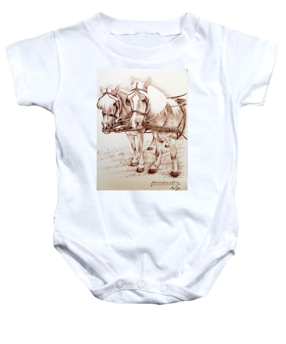 Horses Baby Onesie featuring the drawing Coach Horses by Nicole Zeug