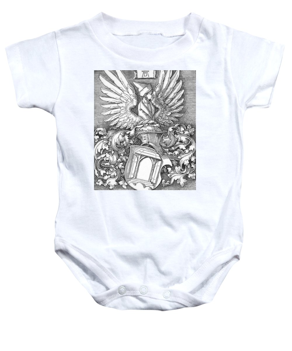Coat Baby Onesie featuring the painting Coat Of Arms Of The House Of Dbcrer 1523 by Durer Albrecht