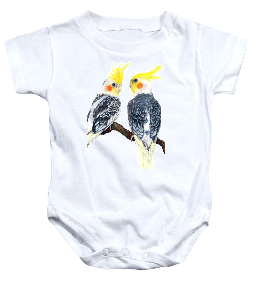 Cockatiel Baby Onesie featuring the drawing Cockatiels by Kristen Wesch