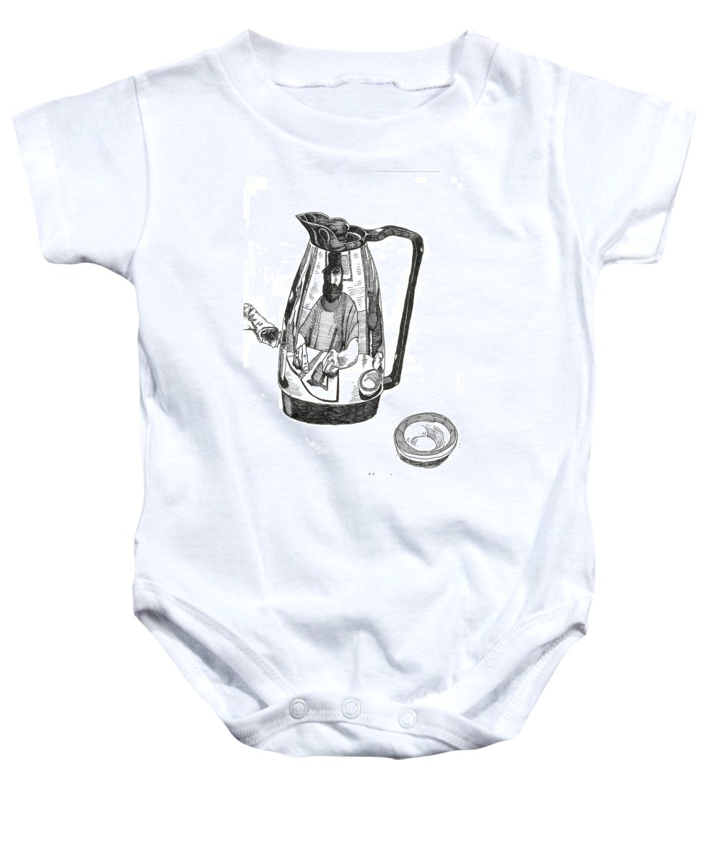 Pen And Ink Baby Onesie featuring the drawing Coffee Pot by Tobey Anderson