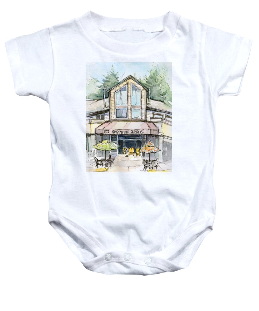 fd54837a1 Bridle Trails Baby Onesie featuring the painting Coffee Shop Watercolor  Sketch by Olga Shvartsur