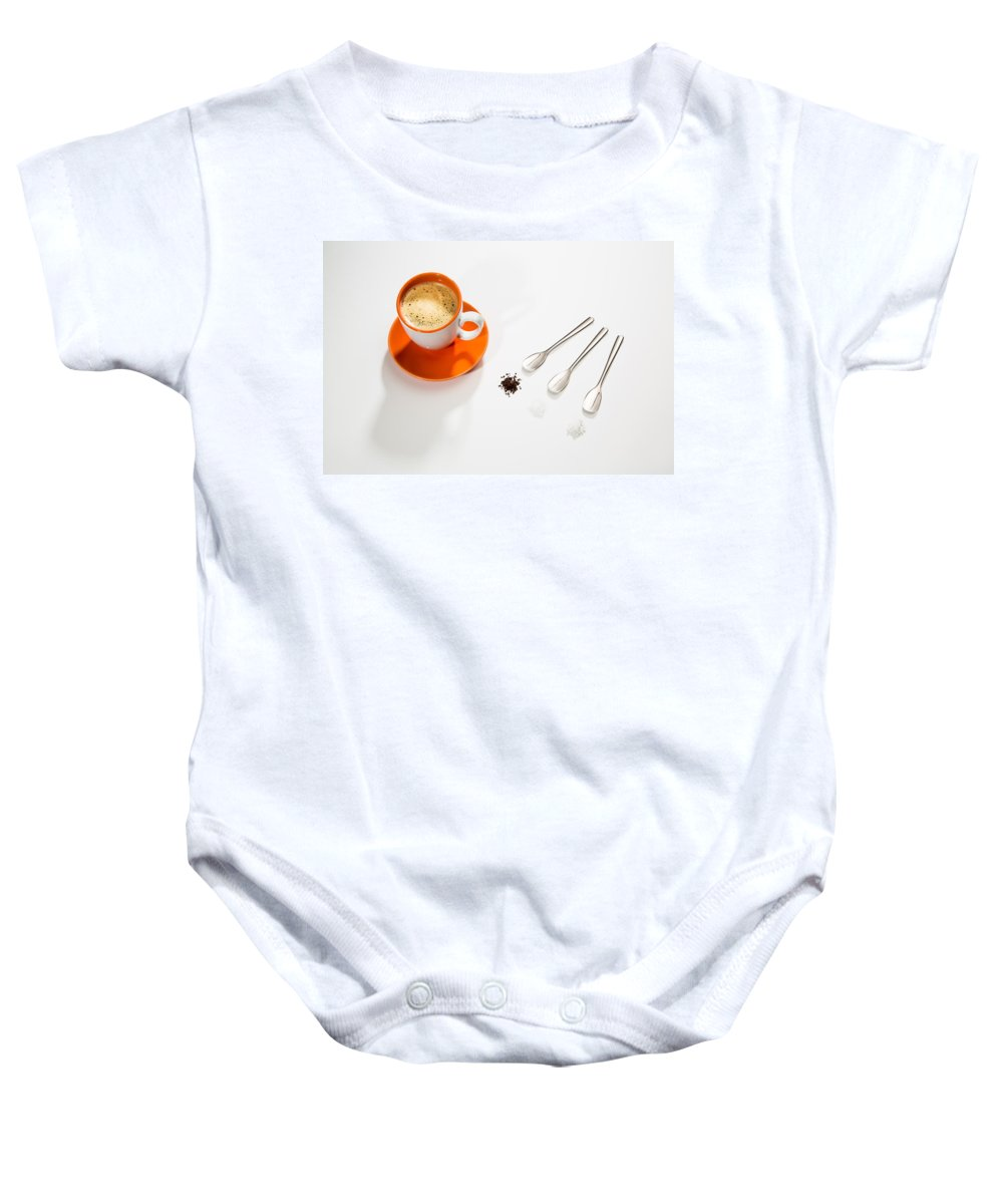 Coffee Baby Onesie featuring the photograph Coffee Sugar Cream by Larry Pollock