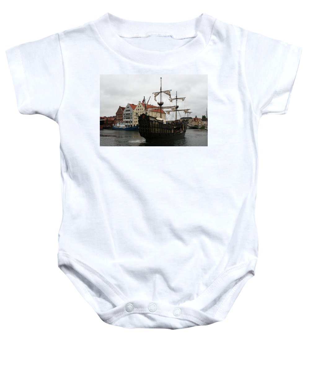 Ship Baby Onesie featuring the photograph Cog On Wotlawa River by Christiane Schulze Art And Photography