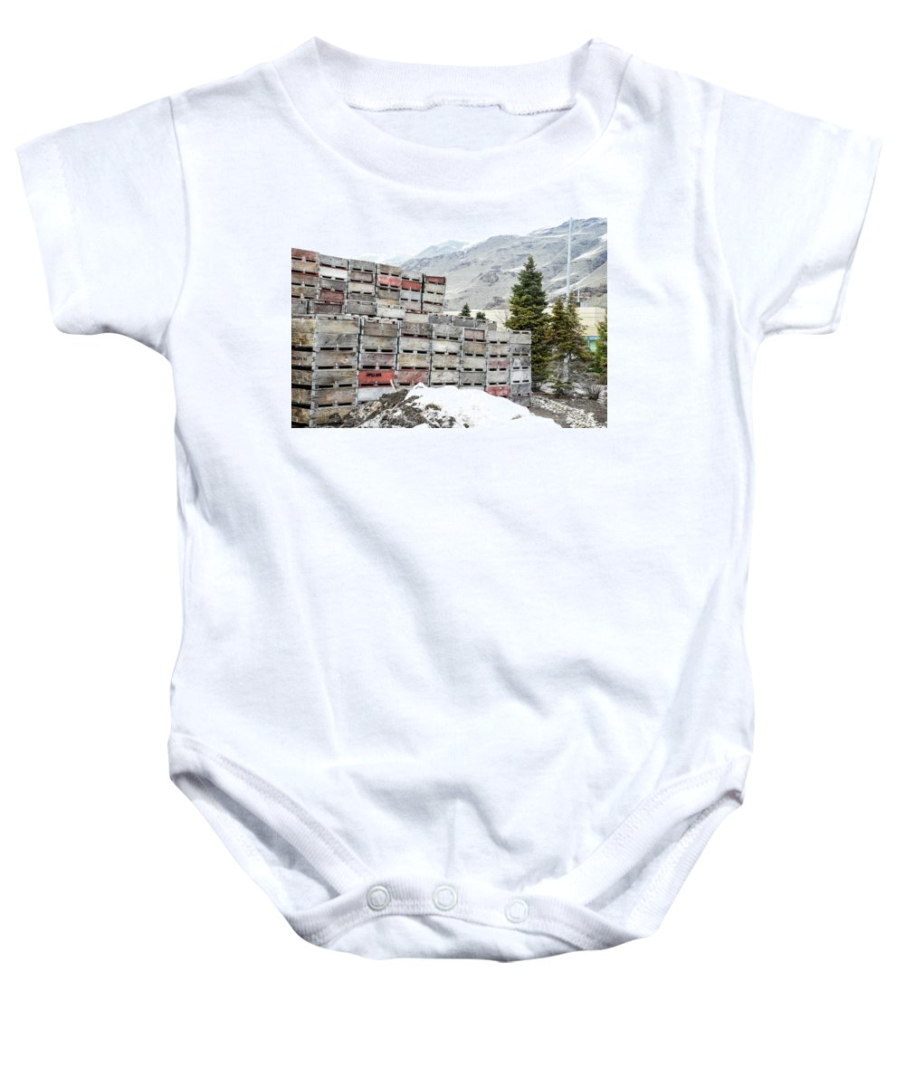 Cold Apple Crates Baby Onesie featuring the photograph Cold Apple Crates by Tom Cochran