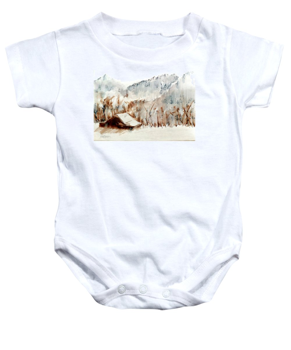 Cold Cove Baby Onesie featuring the mixed media Cold Cove by Seth Weaver