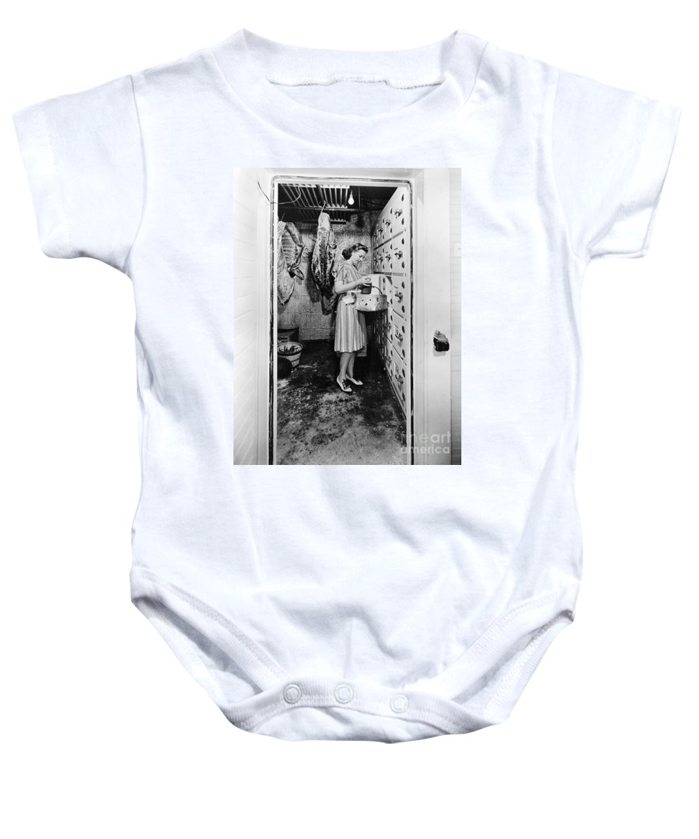 1940 Baby Onesie featuring the photograph Cold Storage Room, C1940 by Granger
