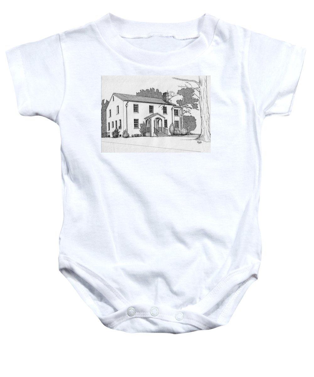 Drawing - Pen And Ink Baby Onesie featuring the drawing Colonel Quarters 2 - Fort Benning Ga by Marco Morales