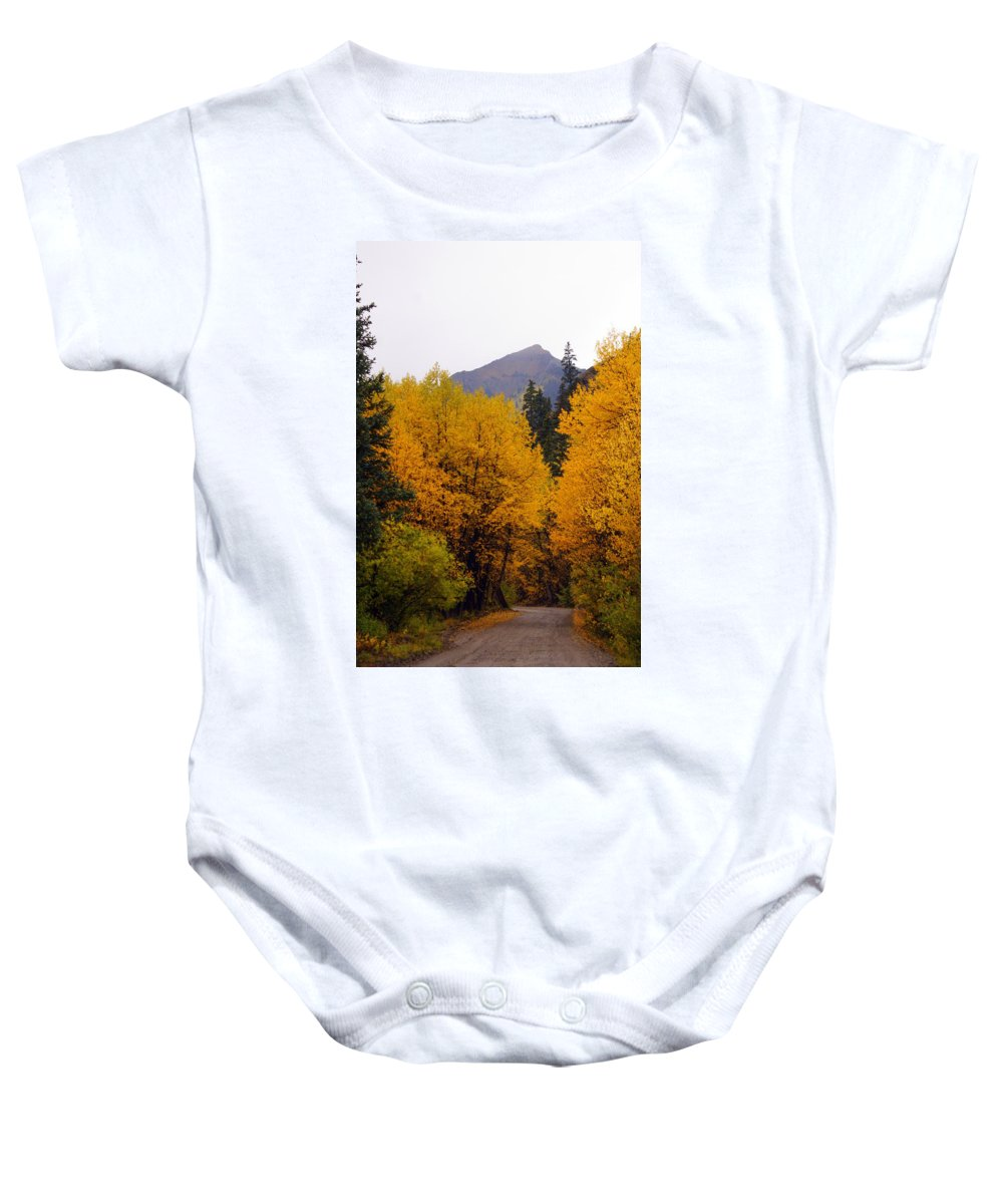 Fall Colors Baby Onesie featuring the photograph Colorado Road by Marty Koch