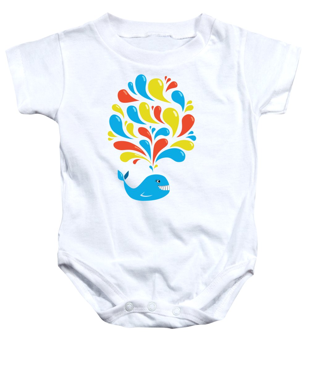 Happy Baby Onesie featuring the digital art Colorful Swirls Happy Cartoon Whale by Boriana Giormova