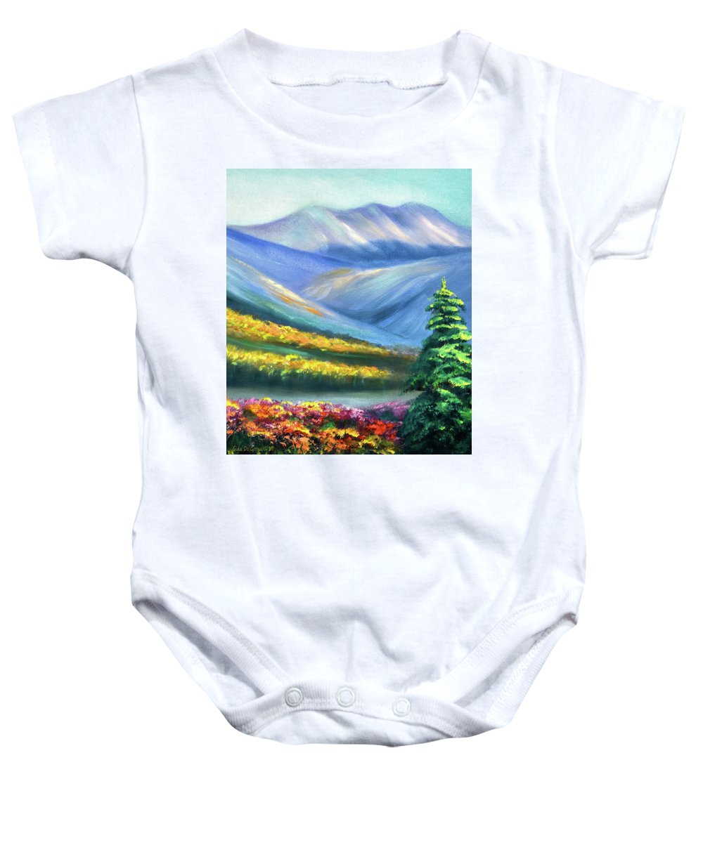 Mountains Baby Onesie featuring the painting Colors Of The Mountains 2 by Gina De Gorna