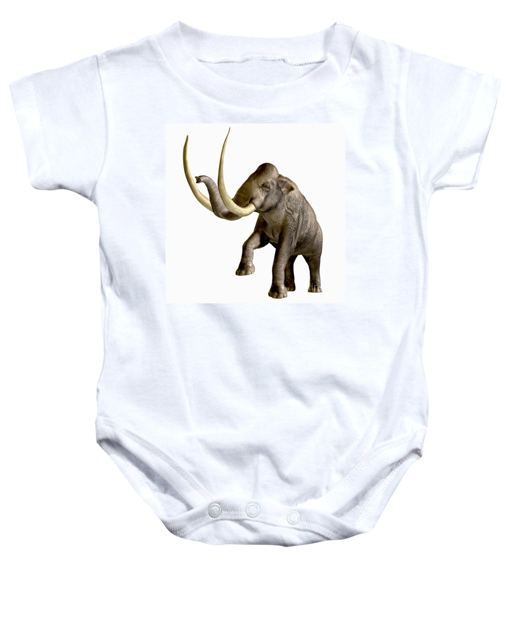 Columbian Mammoth Baby Onesie featuring the painting Columbian Mammoth by Corey Ford