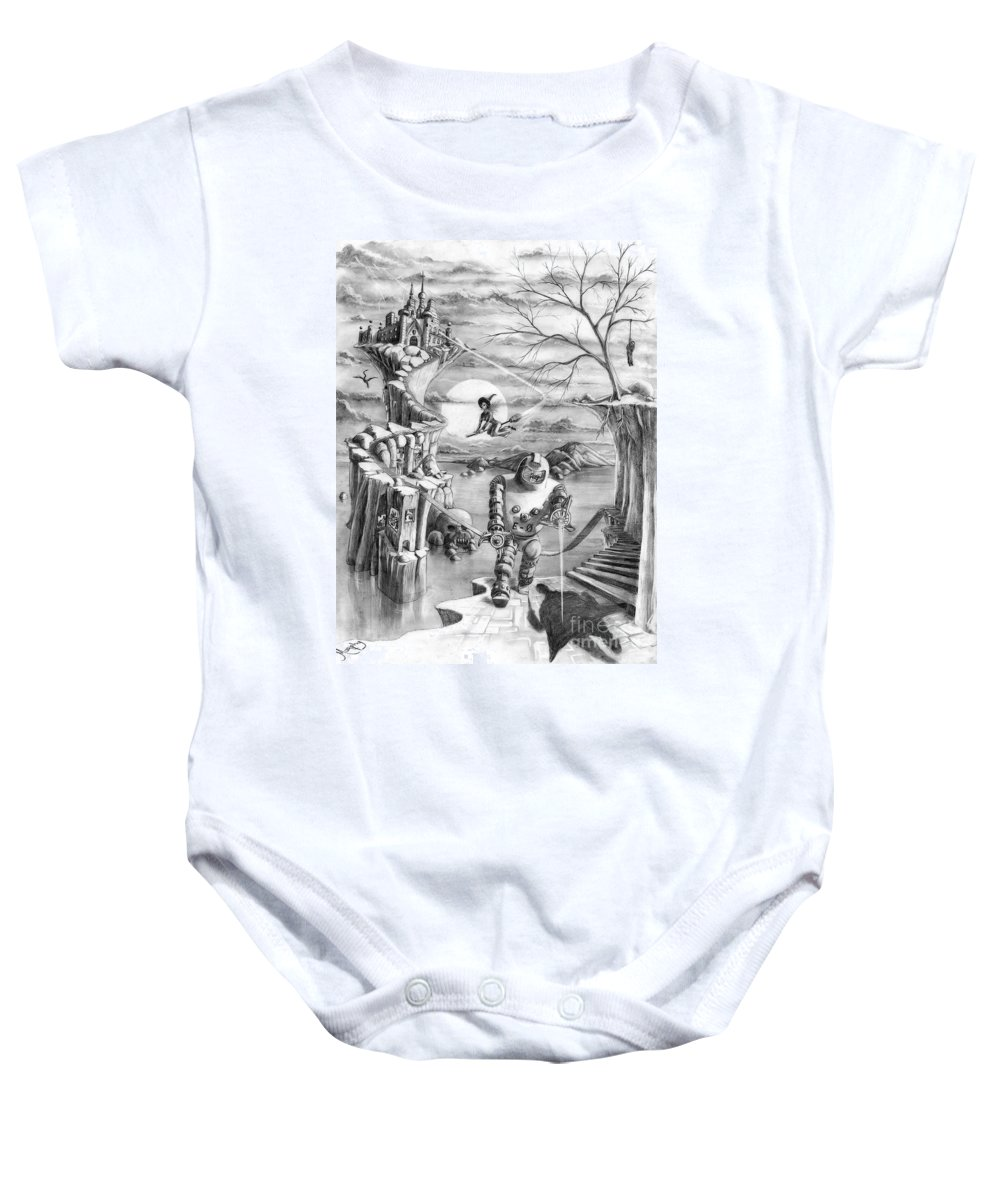 Witch Baby Onesie featuring the drawing Comic Book Cover by Murphy Elliott