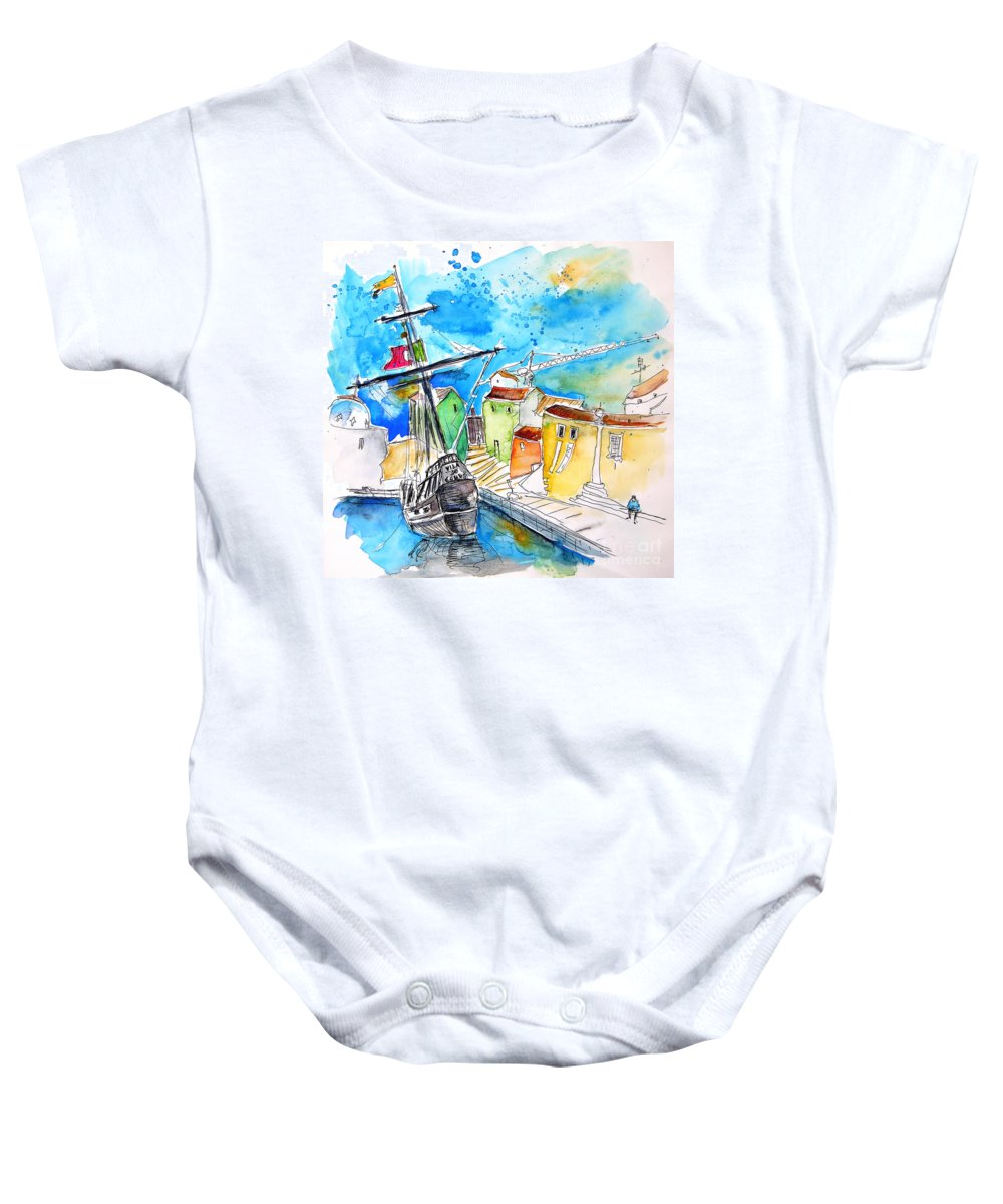 Portugal Baby Onesie featuring the painting Conquistador Boat In Portugal by Miki De Goodaboom