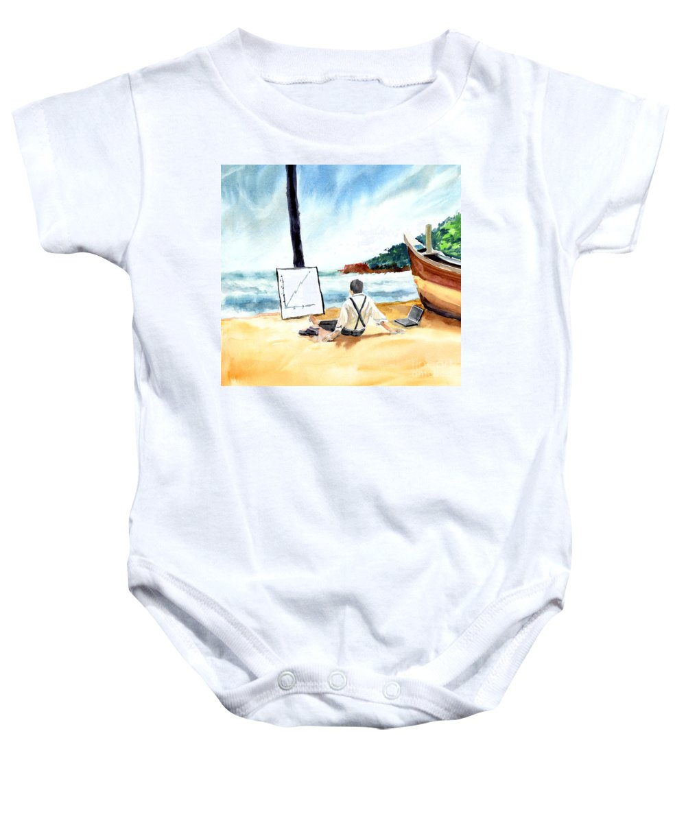 Landscape Baby Onesie featuring the painting Contemplation by Anil Nene