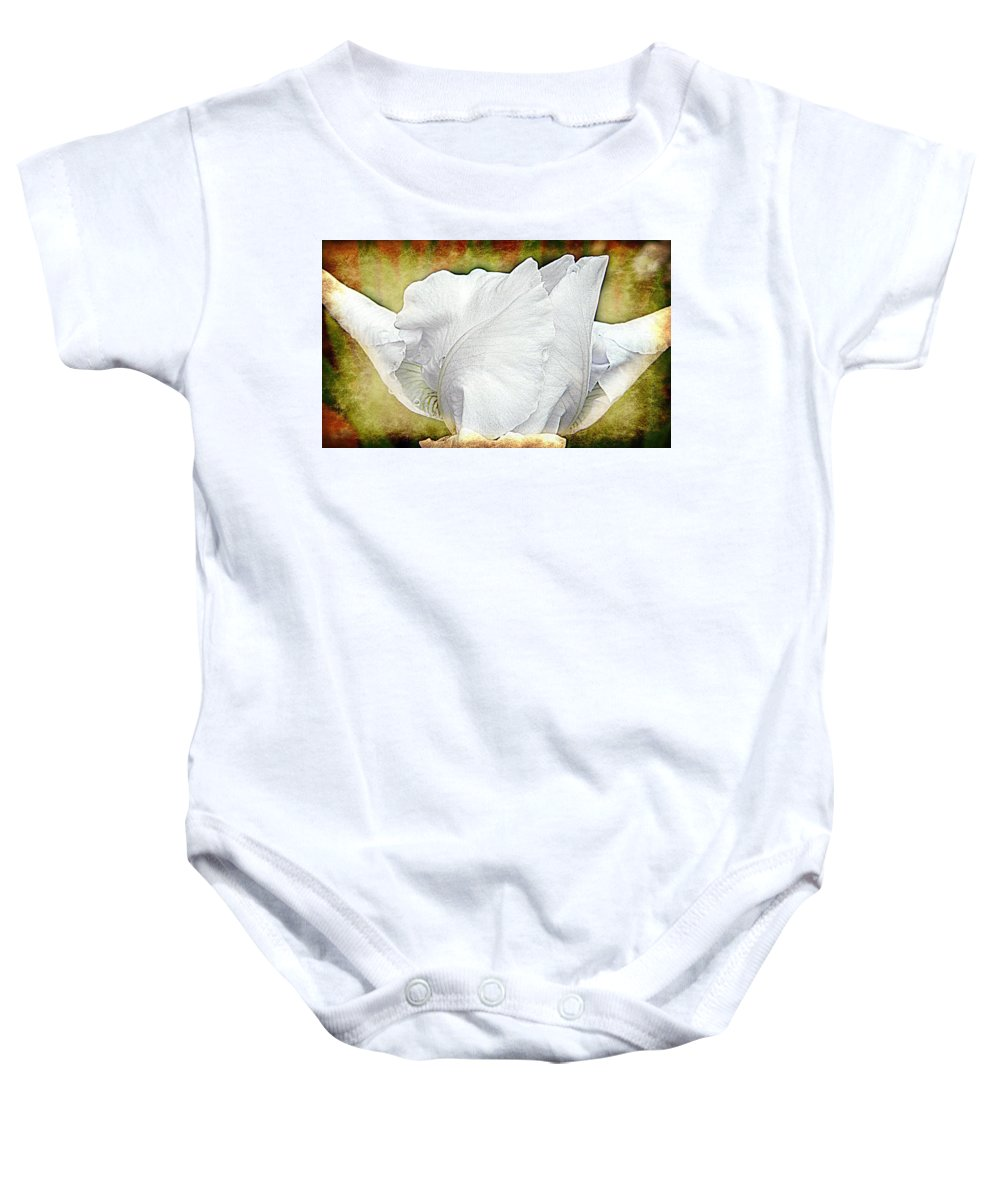 Iris Baby Onesie featuring the photograph Contemporary White Iris by Kathy Barney
