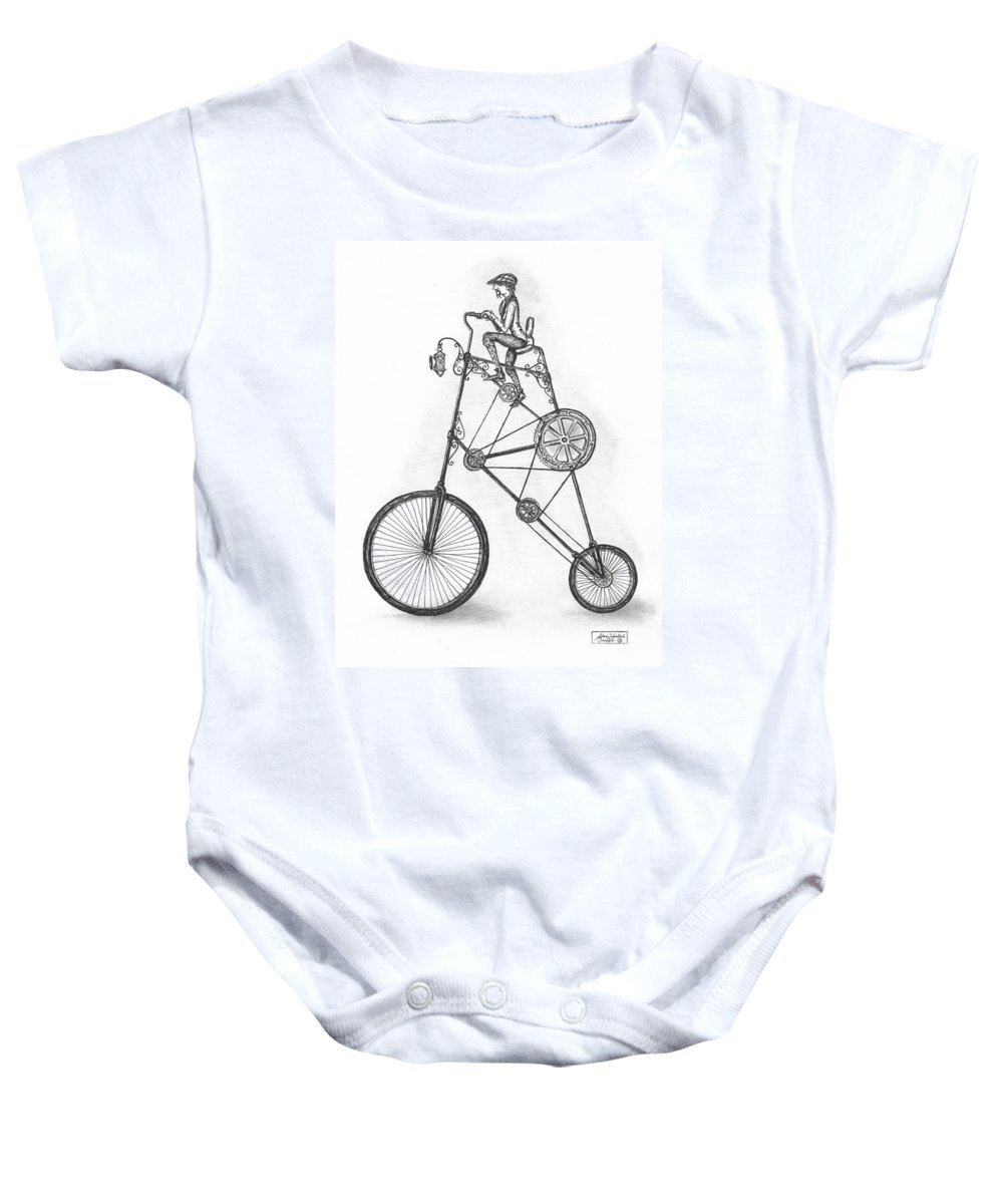 Pen & Ink Baby Onesie featuring the drawing Contraption by Adam Zebediah Joseph