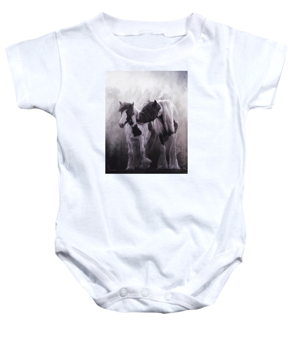 Gypsy Horses Baby Onesie featuring the digital art Contrast by Kimberly Stevens