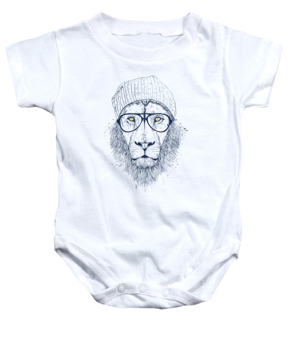 Lion Baby Onesie featuring the drawing Cool lion by Balazs Solti