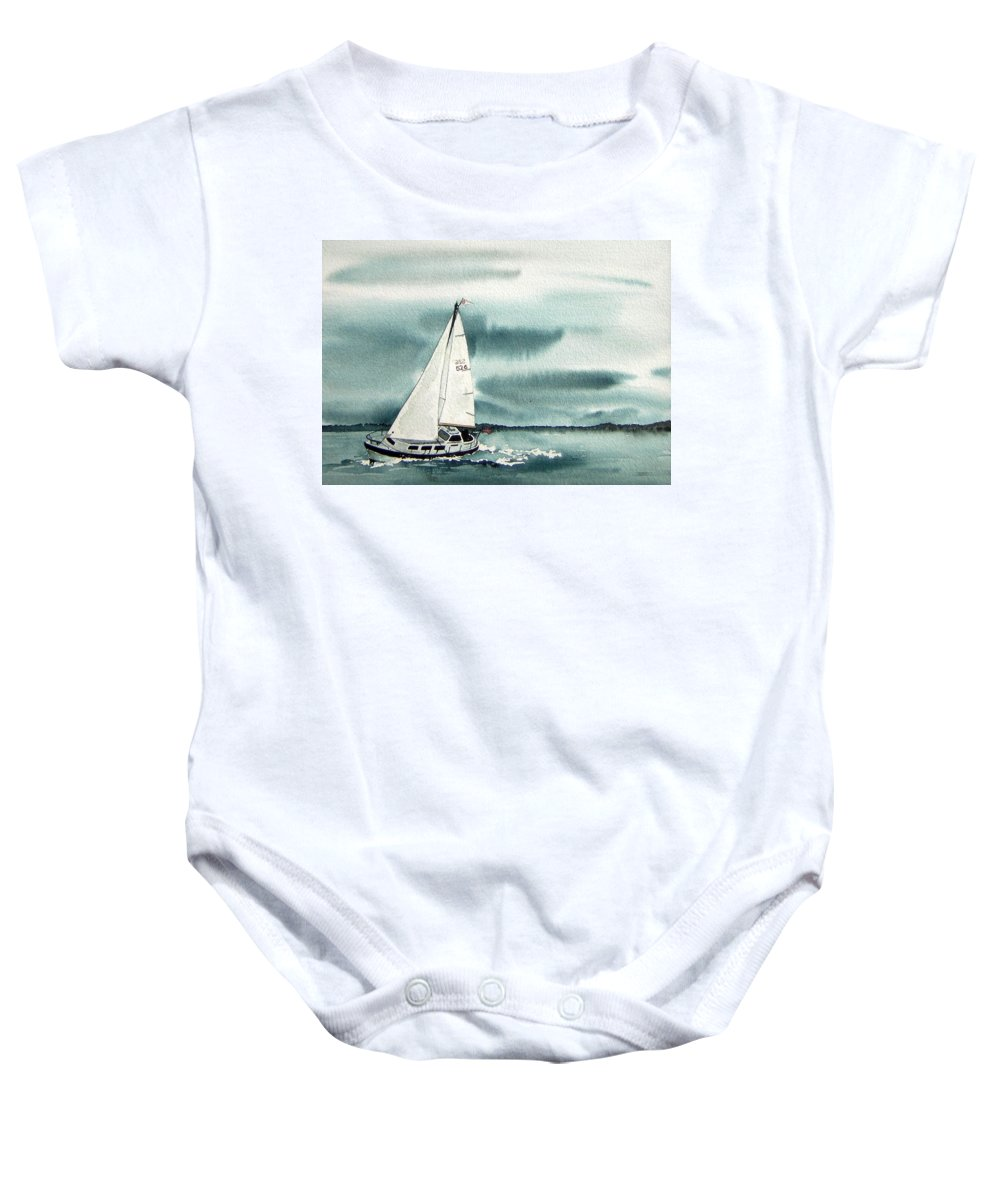 Sailing Baby Onesie featuring the painting Cool Sail by Gale Cochran-Smith