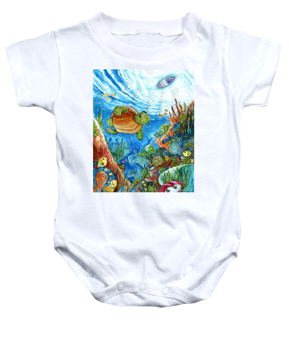 Children Book Baby Onesie featuring the painting Coral Dreams by Luis Peres