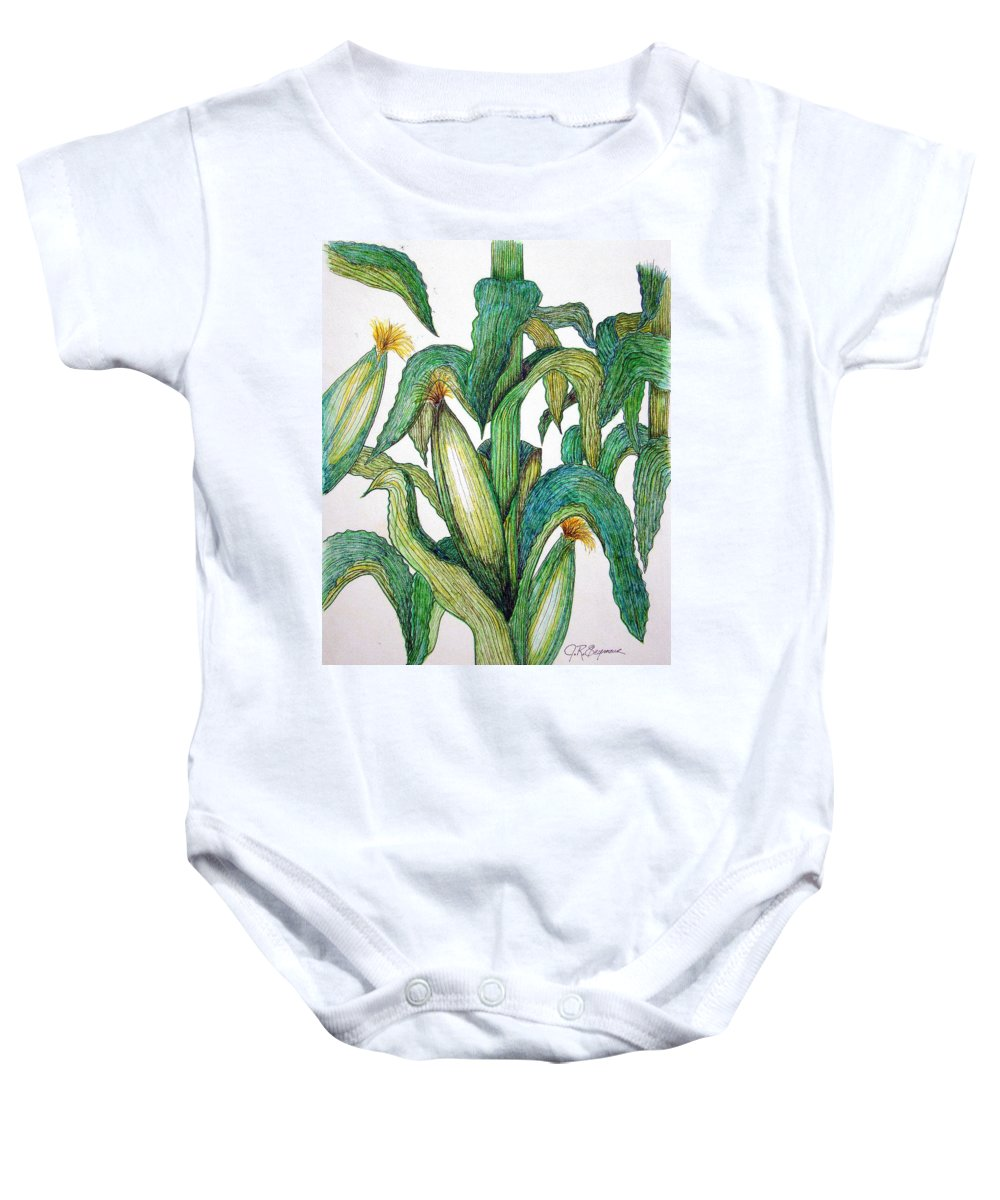 Corn Baby Onesie featuring the drawing Corn And Stalk by J R Seymour