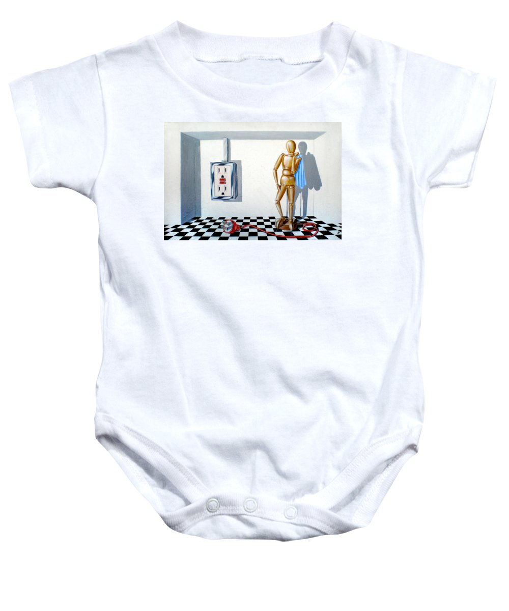 Corporate Intrigue Baby Onesie featuring the painting Corporate Relationship by Susan Frazier