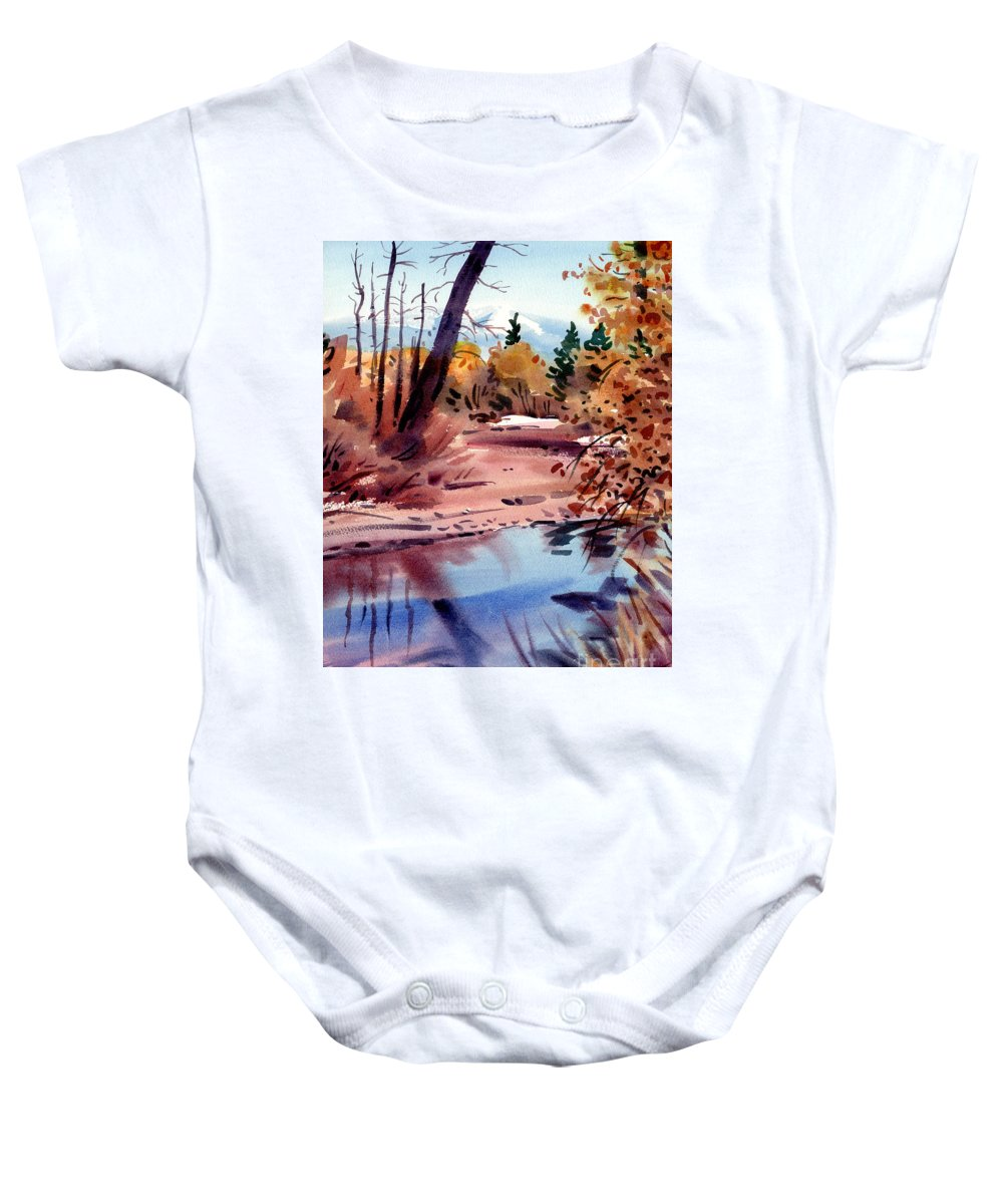 Cottonwood Trees Baby Onesie featuring the painting Cottonwoods In October by Donald Maier