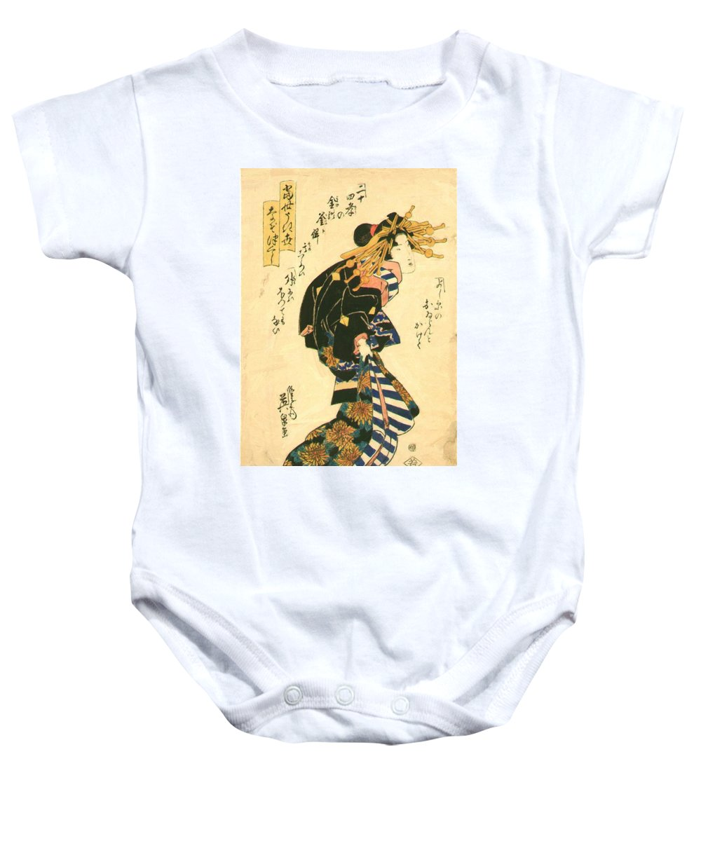 Courtesan Baby Onesie featuring the painting Courtesan And Riddle 1830 by Eisen Keisai