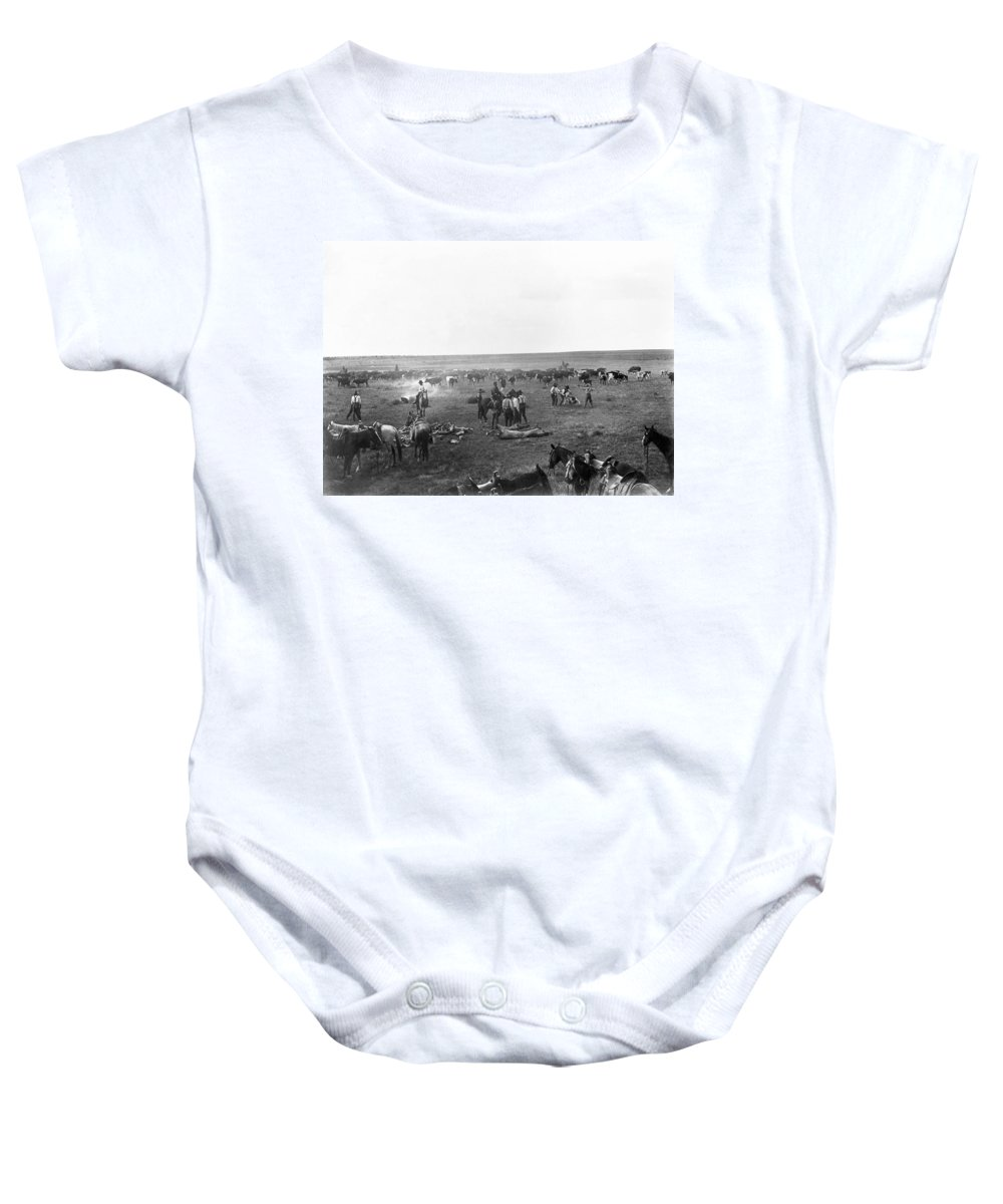1904 Baby Onesie featuring the photograph Cowboys, C1904 by Granger
