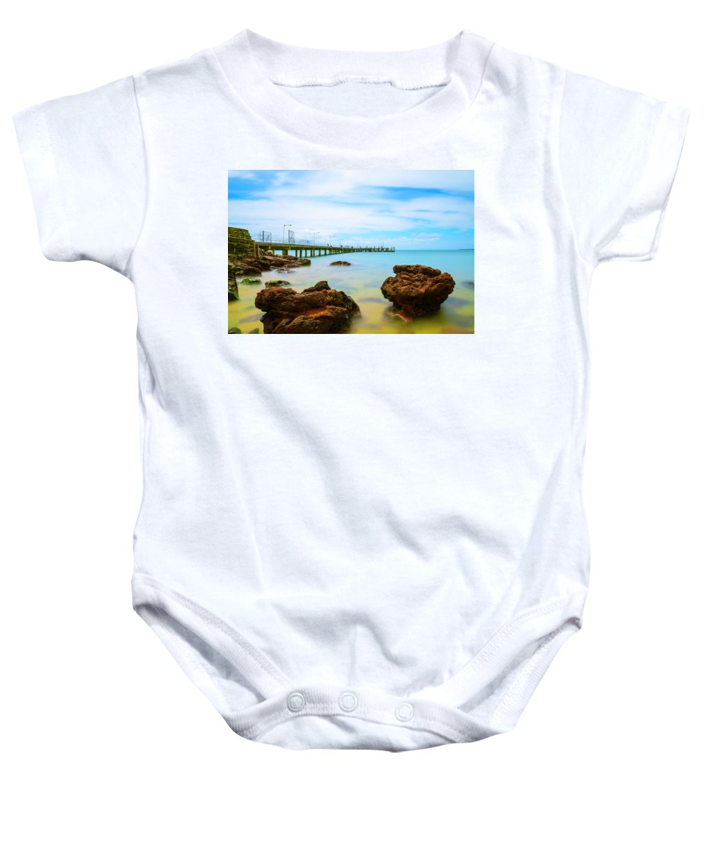 Landscapes Baby Onesie featuring the photograph Cowes Pier by DesignBoard Photography