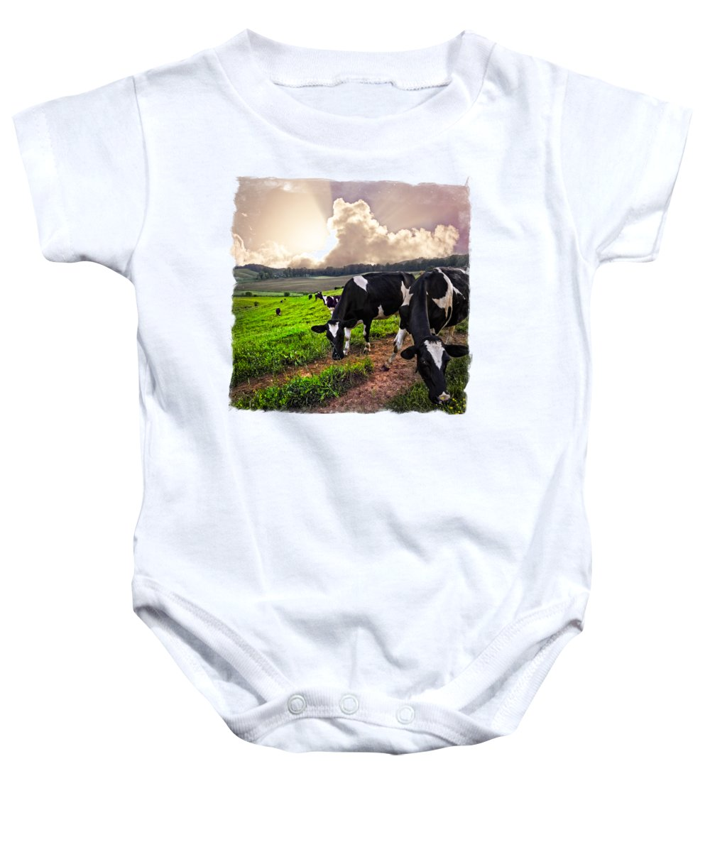 Agriculture Baby Onesie featuring the photograph Cows At Sunset Bordered by Debra and Dave Vanderlaan