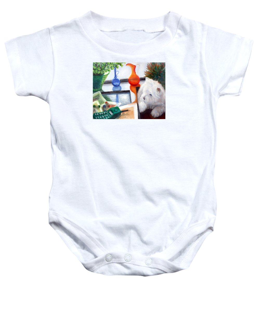 Dog Baby Onesie featuring the painting Creative Reflections by Minaz Jantz