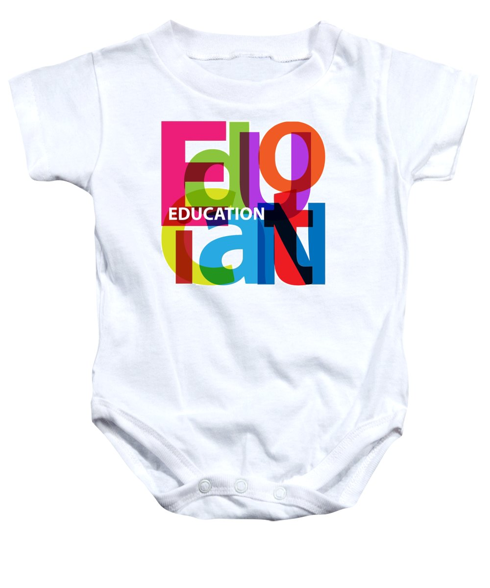 Comics Baby Onesie featuring the digital art Creative Title - Education by Don Kuing