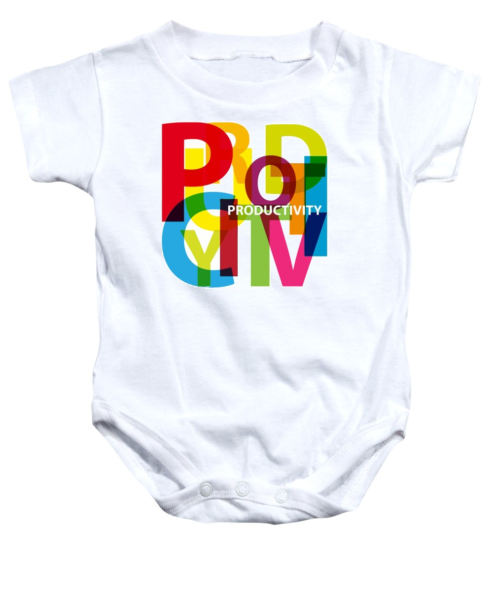 Comics Baby Onesie featuring the digital art Creative Title - Productivity by Don Kuing