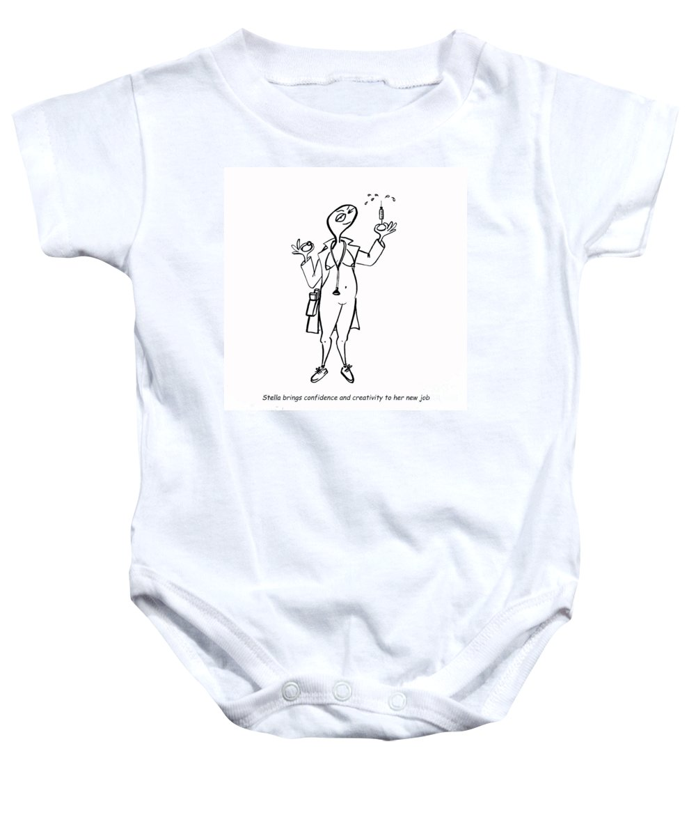 Stella Baby Onesie featuring the digital art Creativity Not Required by Leanne Wilkes