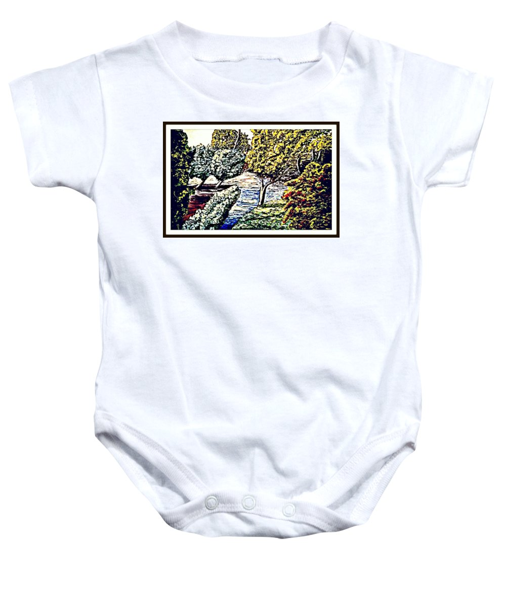 Creek Baby Onesie featuring the painting Creek In The Forest Framed by Irving Starr
