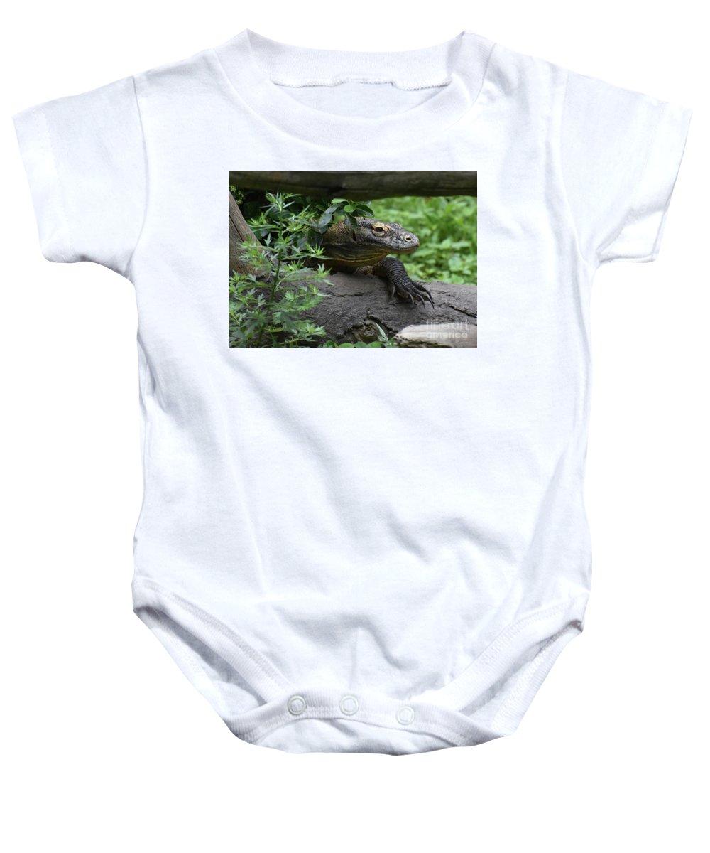 Komodo-dragon Baby Onesie featuring the photograph Creeping Komodo Monitor Climbing Under A Fallen Log by DejaVu Designs