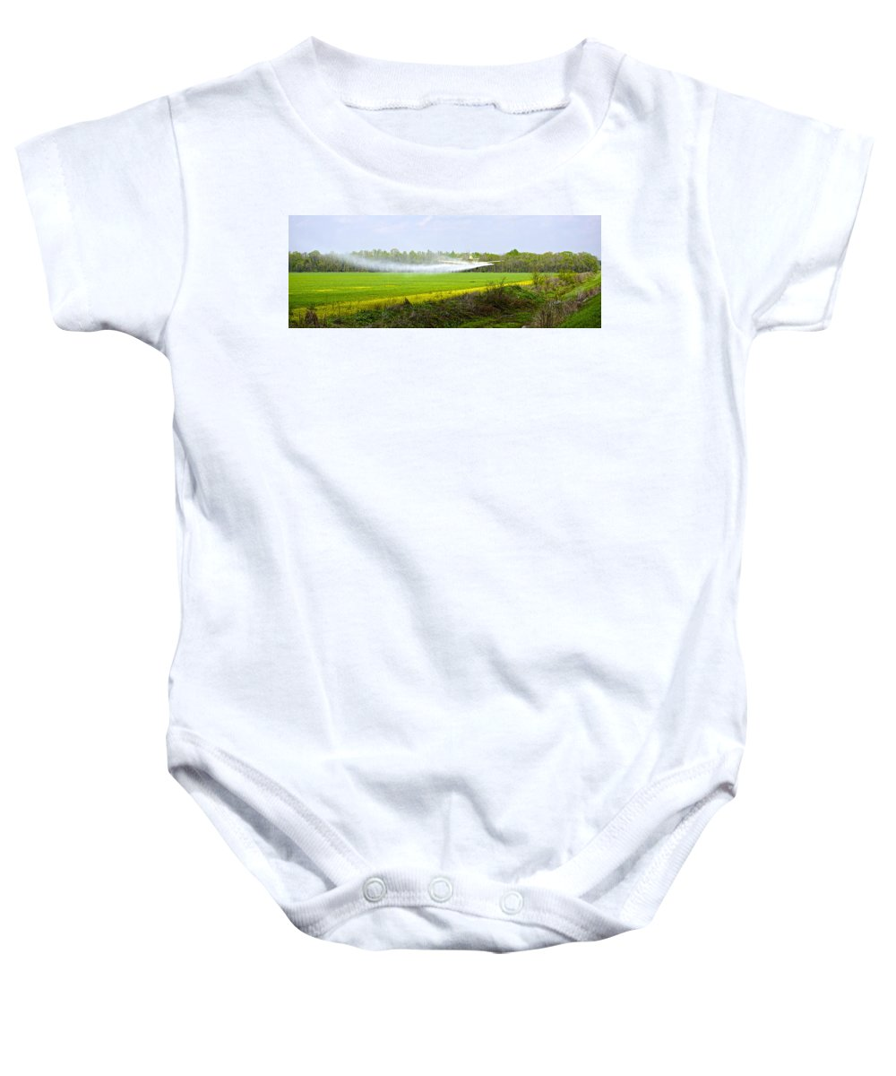 Plane Baby Onesie featuring the photograph Crop Dusting by Charlie Brock
