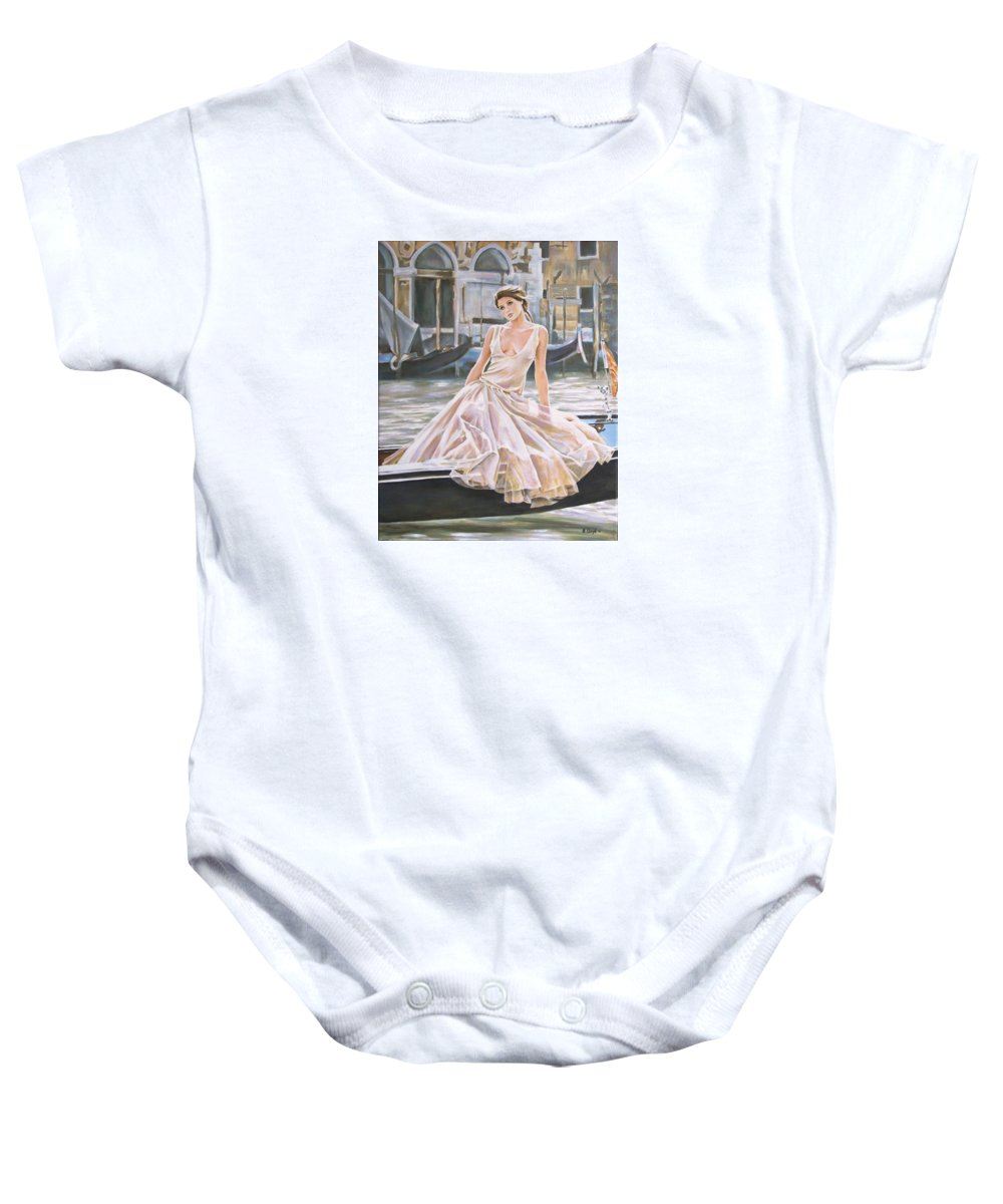 Woman Gondola Venice Ballet Dress Baby Onesie featuring the painting Crossing The Canal by Andy Lloyd