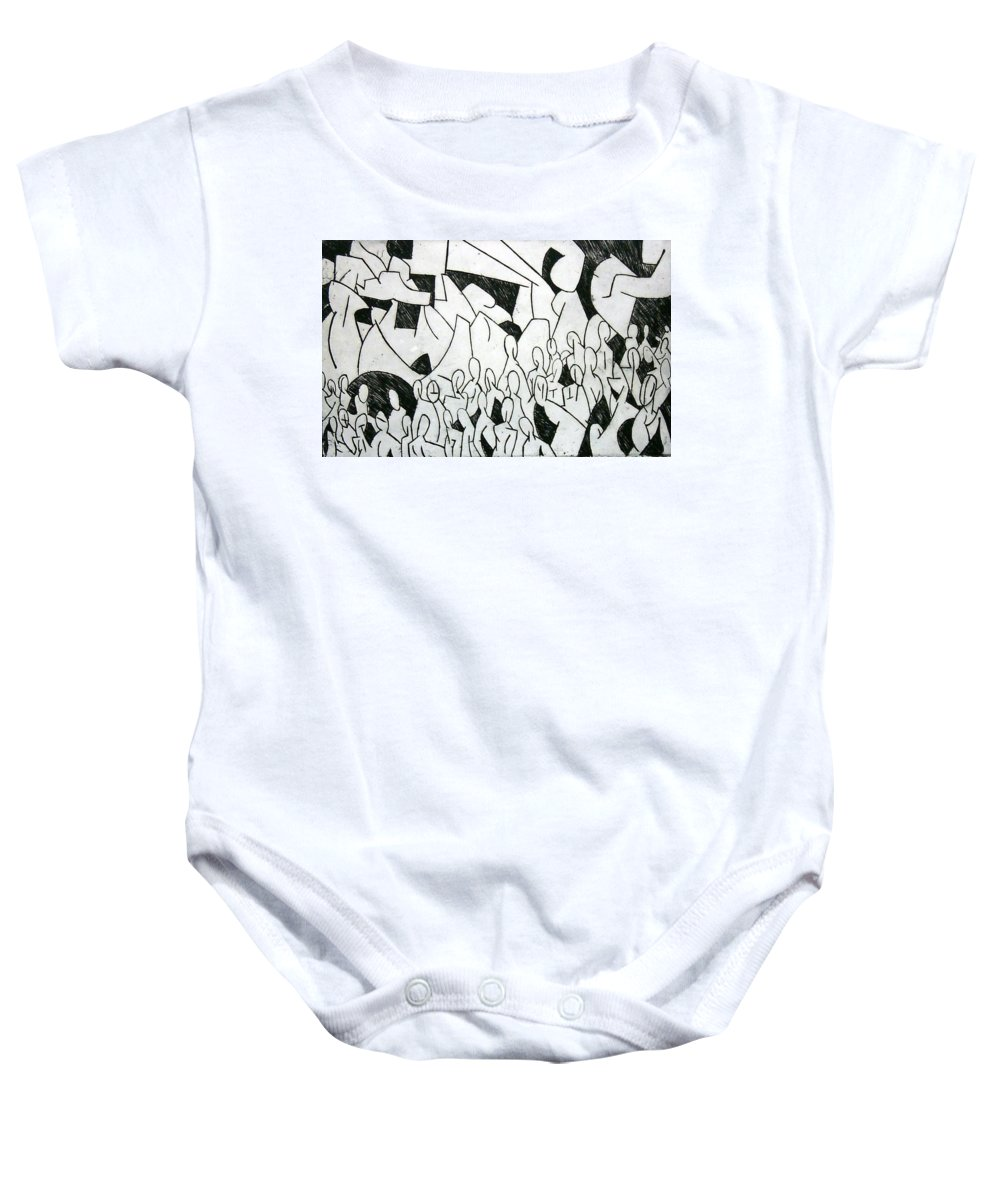 Etching Baby Onesie featuring the print Crowd by Thomas Valentine